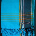 Kikoy – Turquoise with Dark Broad Stripe KK22