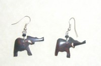 Bone Bead Elephant Earrings EA2