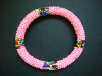 Masai Bead Pink Bangle MBG2