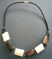 Bone Bead Short Necklace – Brown/Cream NBC1