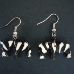 Bone Bead Zebra Earrings EA1