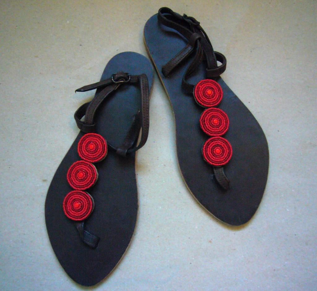 Kenyan Leather amp Bead Sandals Red Bead Size 40 Or 41 KSANR Out Of