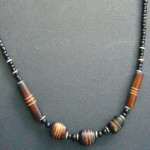 Narrow Bone Bead Brown Necklace NBN1