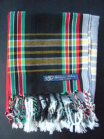 Long Kikoy Scarf – Black/Red/Green KS7