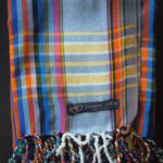 Long Kikoy Scarf – Blue/Orange/Multi Narrow Stripe KS10