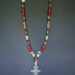 Batik & Red Carnelian Long Necklace with Coptic Cross Pendant – MNL1