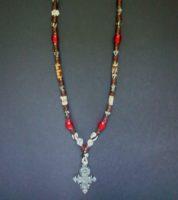 Batik & Red Carnelian Long Necklace with Coptic Cross Pendant – MNL1