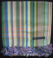 Kikoy – Light Green & Blue Multi Narrow Stripe KK15