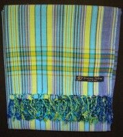 Kikoy – Blue & Green Narrow Stripe KK14