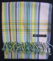 Kikoy – White with Blue & Green Multi Narrow Stripe KK24