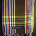 Long Kikoy Scarf – Burgundy/Brown with Multi Narrow Stripe KS5
