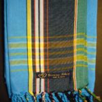 Long Kikoy Scarf – Turquoise with Black Broad Stripe KS6