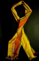 Long Kikoy Scarf – Orange/Gold with Red Broad Stripe KS1