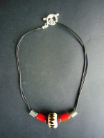 Silver &  Leather Batik & Red Carnelian Choker – MN9