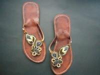 Kenyan Leather & Bead Flip-Flop Sandals – Blue Aqua Metallic, Size 41. MBS8