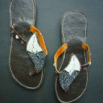 Kenyan Leather & Bead Flip-Flop Sandals – Pewter & White, Size 40. MBS7