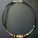 Bone Bead Leather Choker with Tigers Eye – MN12