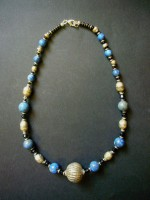 Antique Lapis Lazuli Necklace with Pewter Bead – MN14