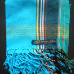 Kids Kikoy Wrap or Scarf – Turquoise with Dark Blue Stripe KKY9