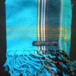Kids Kikoy Wrap or Scarf – Turquoise with Dark Blue Stripe KKY9