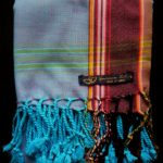 Kids Kikoy Wrap or Scarf – Light Blue with Brown Stripe KKY2