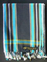 Long Kikoy Scarf (Finest Grade Cotton) – Black/Grey/Turquoise KSF2