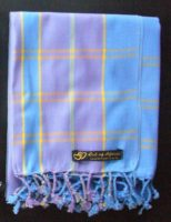 Long Kikoy Scarf (Finest Grade Cotton) – Blue/Lilac/Gold Stripe KSF3