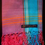 Kids Kikoy Wrap or Scarf – Pink with Turquoise Stripe KKY7