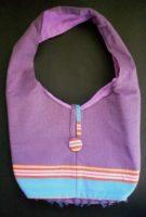 Large Kikoy Button Beach Bag – Purple/Blue Stripe KKB4