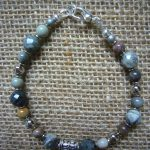 Mara Silver Leaf Agate Bead Bracelet – MB4