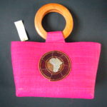Woven Raffia Small Pink Bag with Masai Motif MB2