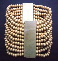 Wood Bead Stretch Bracelet – Light Brown BWB3