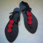 Kenyan Leather & Bead Sandals – Red Bead, Size 40 KSANR