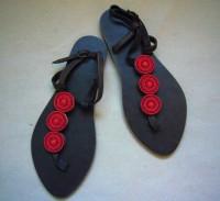 Kenyan Leather & Bead Red Sandals – Size 40 KSAN1