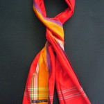 Long Kikoy Scarf – Red & Gold Broad Stripe KS2