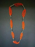 Coral and Batik Long Necklace – MN5