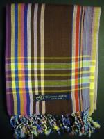 Long Kikoy Scarf – Burgundy/Brown with Multi Narrow Stripe KS5