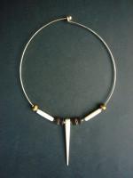 Silver & Batik Bone Bead Choker NMB16