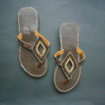 Kenyan Leather & Bead Flip Flop Sandals – Black & Brown Metallic, Size 38. MBS3