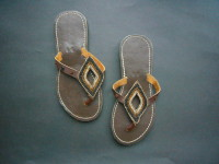 Kenyan Leather & Bead Flip Flop Sandals – Black & Brown Metallic, Size 38. KSAN2