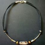 Bone Bead Leather Choker with Tigers Eye – MN12