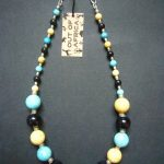 Turquoise, Cream and Black Retro Bead Necklace – MN18
