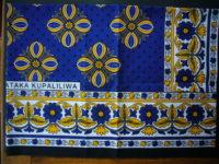 Kanga – Blue & Gold Traditional Design KG16
