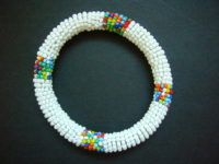 Masai Bead White Bangle – MGB3
