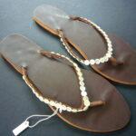 Kenyan Leather & Bead Brown & Gold Flip-Flop Sandals – Size 40 KSAN4