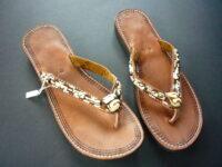 Masai Leather & Multi bead Flip-Flop Sandals – Size 40 KSAN5