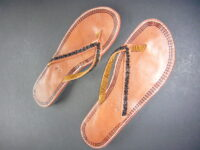 Kenyan Leather & Bead Flip-Flop Black Sandals – Size 40 KSAN3