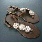 Kenyan Leather Pink & White Bead Sandals – Size 37 KSAN7