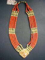 Camel Bone Chunky Necklace with Coral Bead – MN9